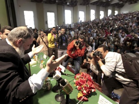 Hazem Salah Abu Ismail, a Salafist leader and presidential candidate, poses during a campaign rally at Cairo University
