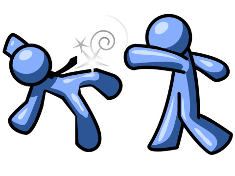 Blue Man Being Punched by Another Clipart Illustration