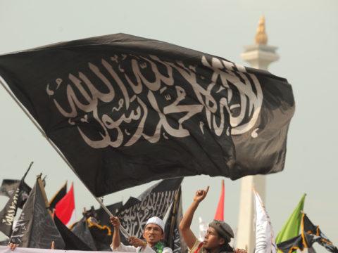 Sejumlah umat islam menggelar aksi 287 di Jakarta, Jumat (28/7).