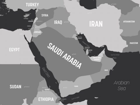 Middle East map - grey colored on dark background. High detailed political map of Middle East and Arabian Peninsula region with country, capital, ocean and sea names labeling